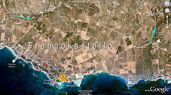 Map of the Frangokastello area, southwest Crete